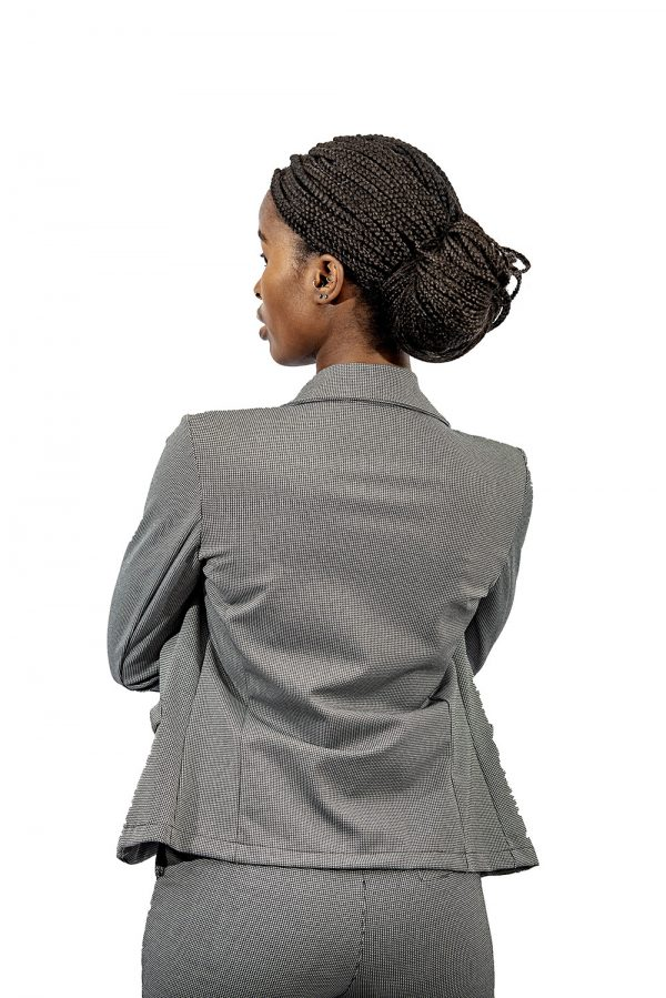 ladies small check stretch jacket back