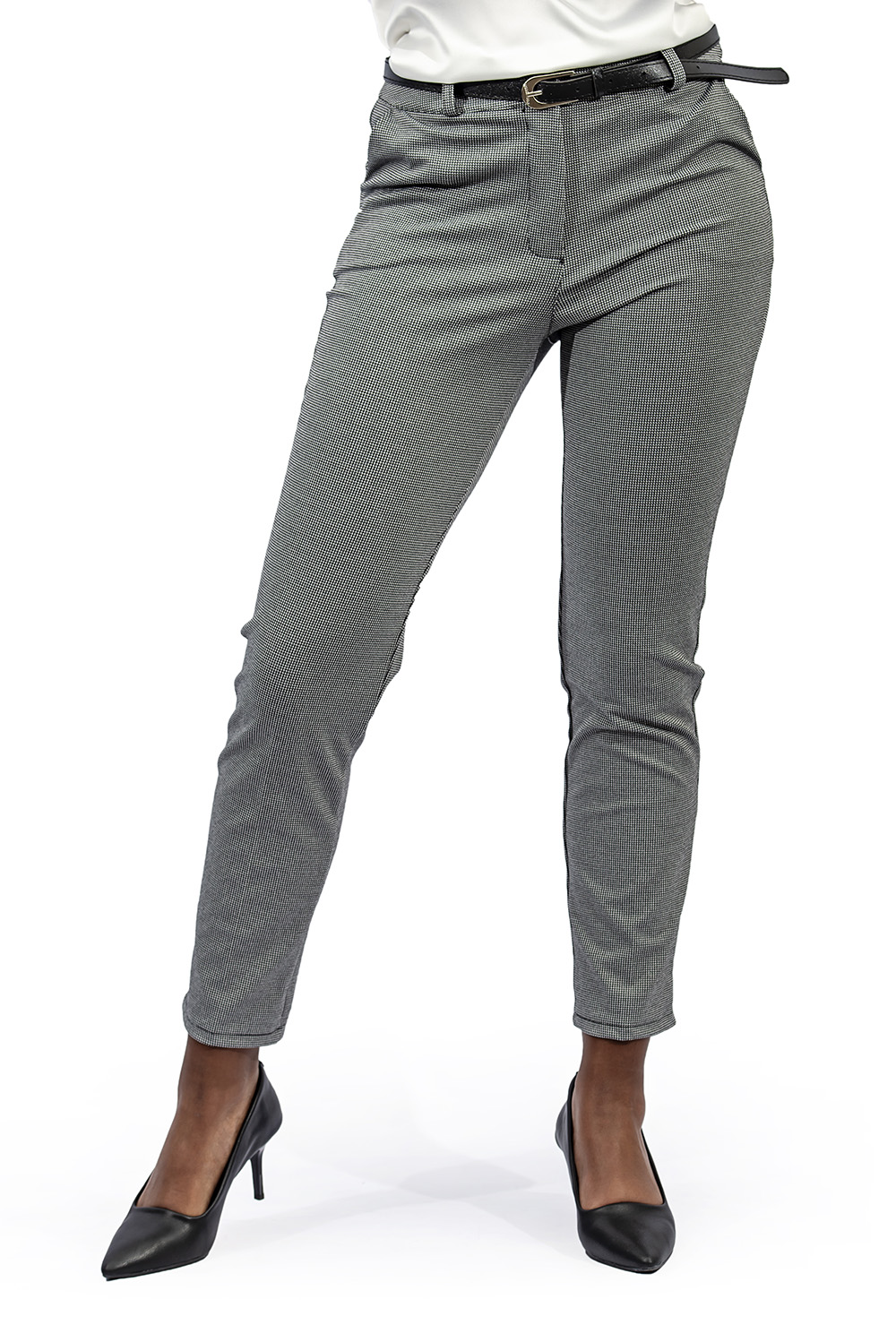 Ladies small check stretch jacket grey