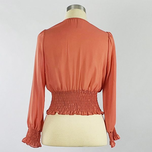 Georgette Cross-over Smocking Blouse Coral Back