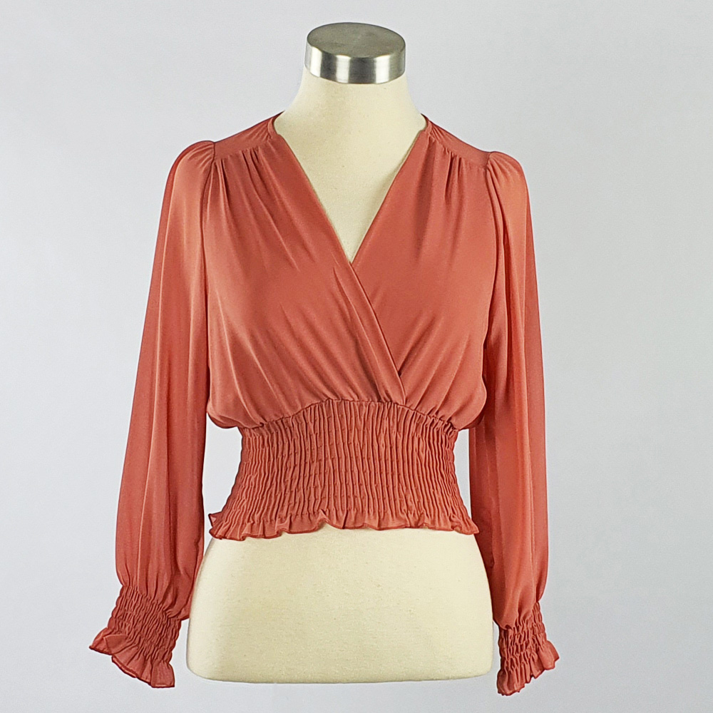 Georgette Cross-over Smocking Blouse Coral