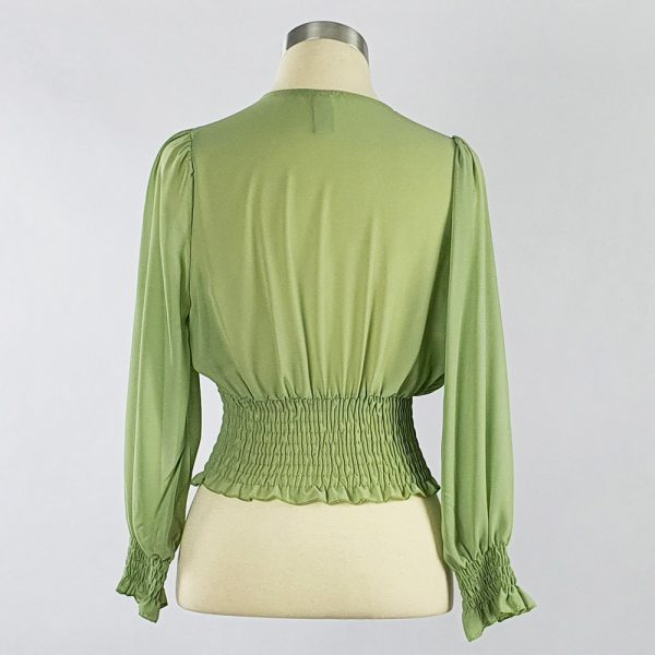 Georgette Cross-over Smocking Blouse Green Back