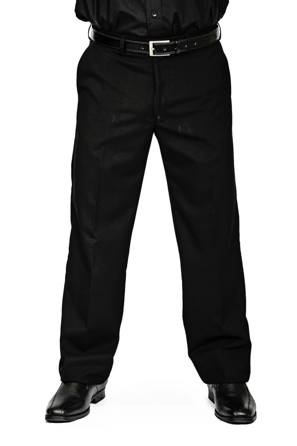 Mens regular fit pants black front