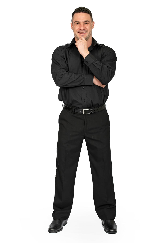 Mens regular fit pants black front