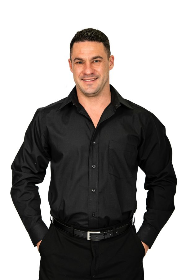 Mens formal black shirt front