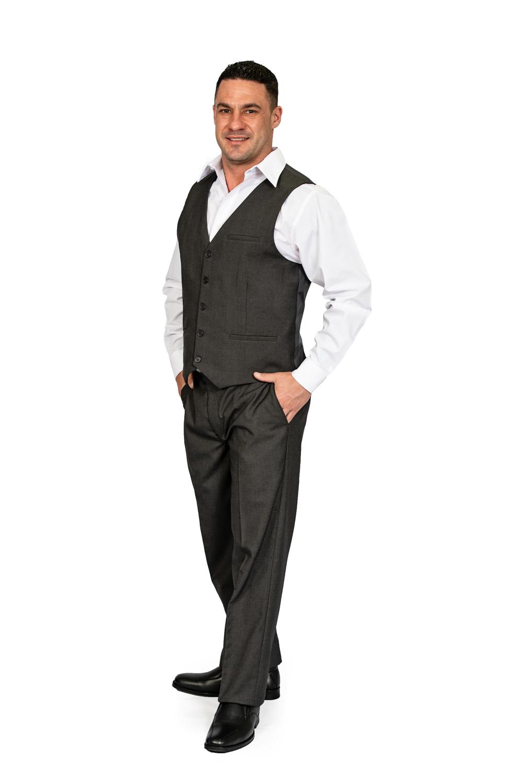 Mens regular fit pants charcoal front