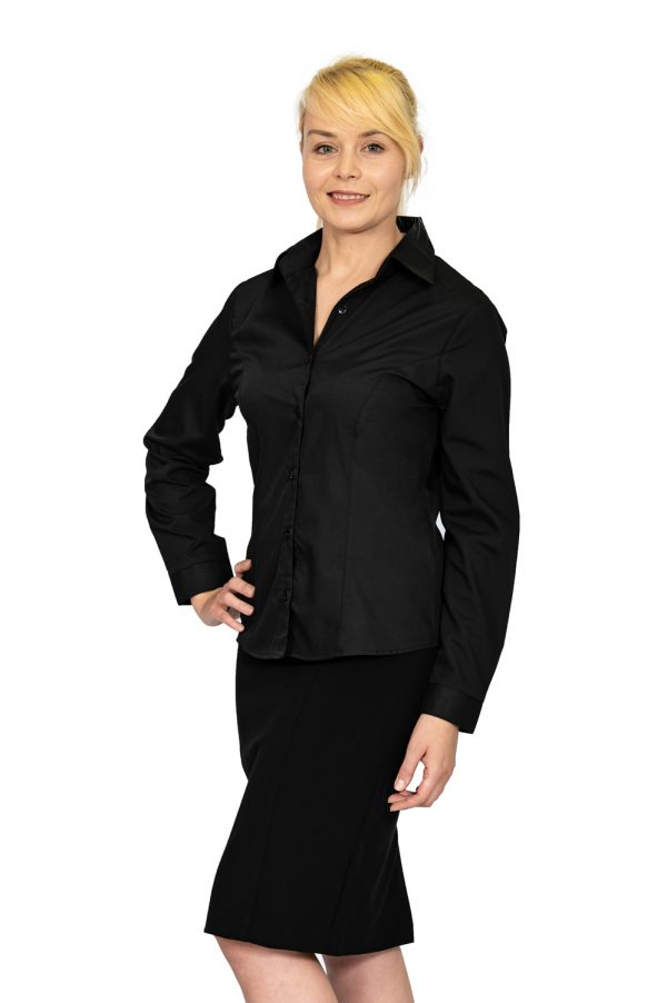 Ladies plain collar long sleeve shirt black front