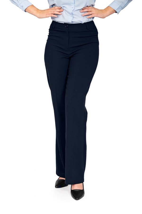 Ladies bootleg pants navy front