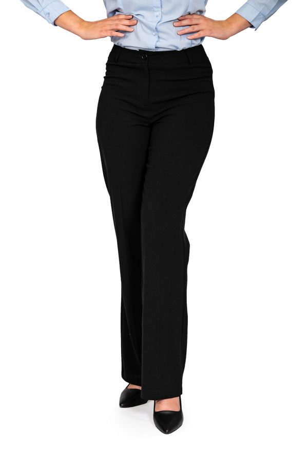 Ladies black bootleg pants front