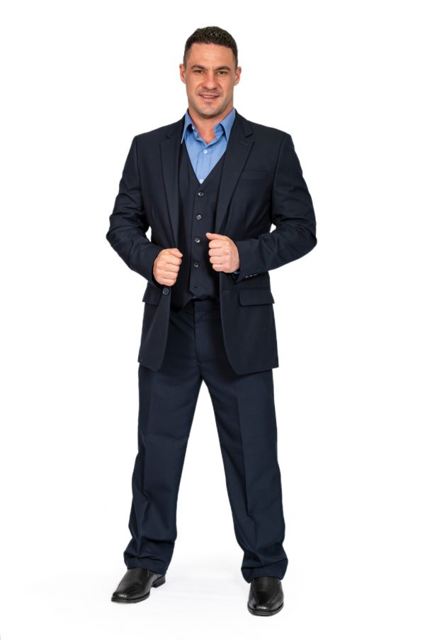 Mens navy regular fit jacket front