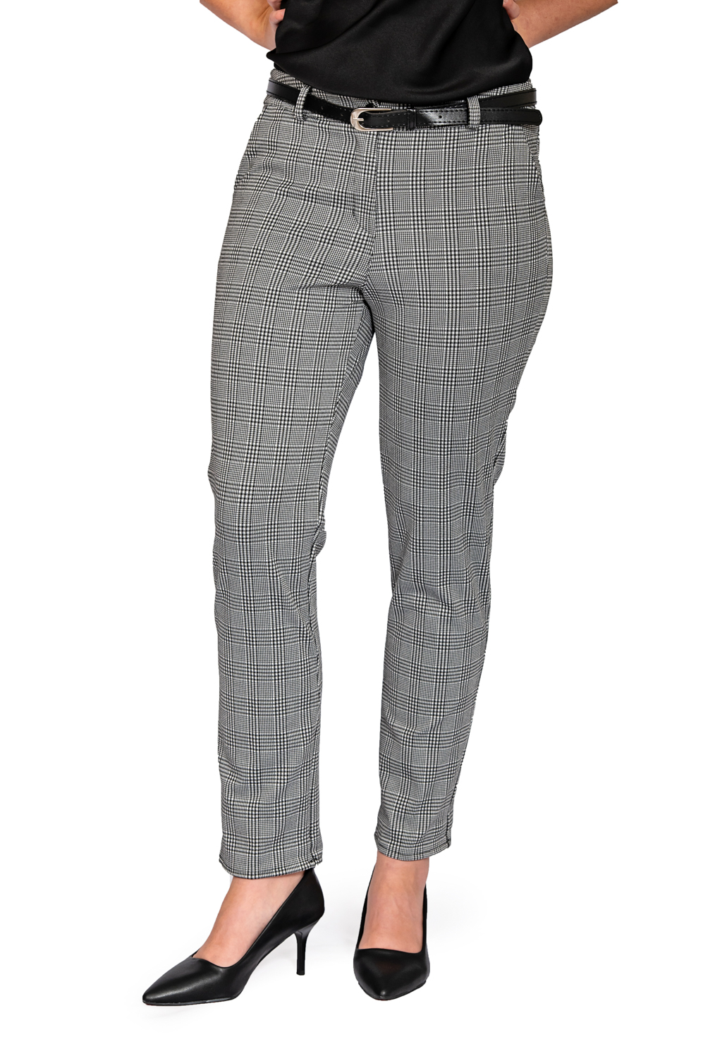 Ladies big check stretch pants front
