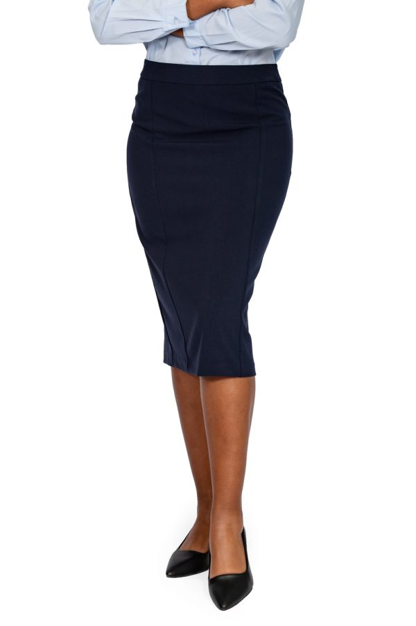 ladies pencil skirt navy front