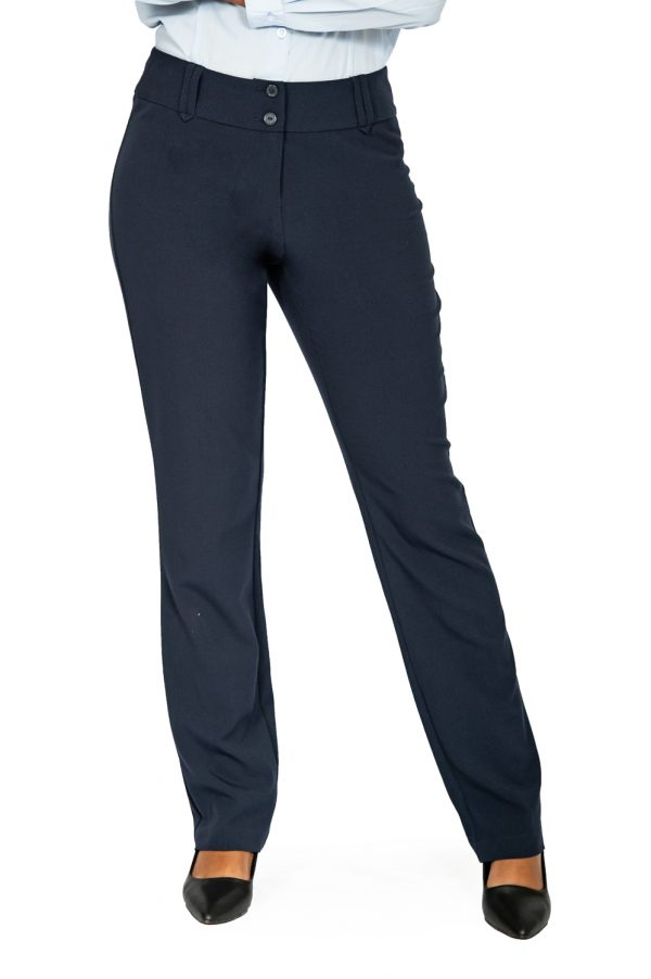 Ladies straight leg pants navy front