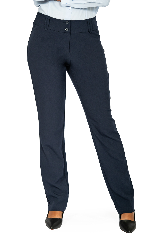 Ladies straight leg pants navy front