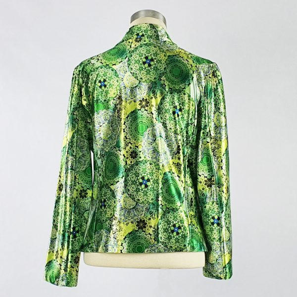 Print Satin Jacket Green Back