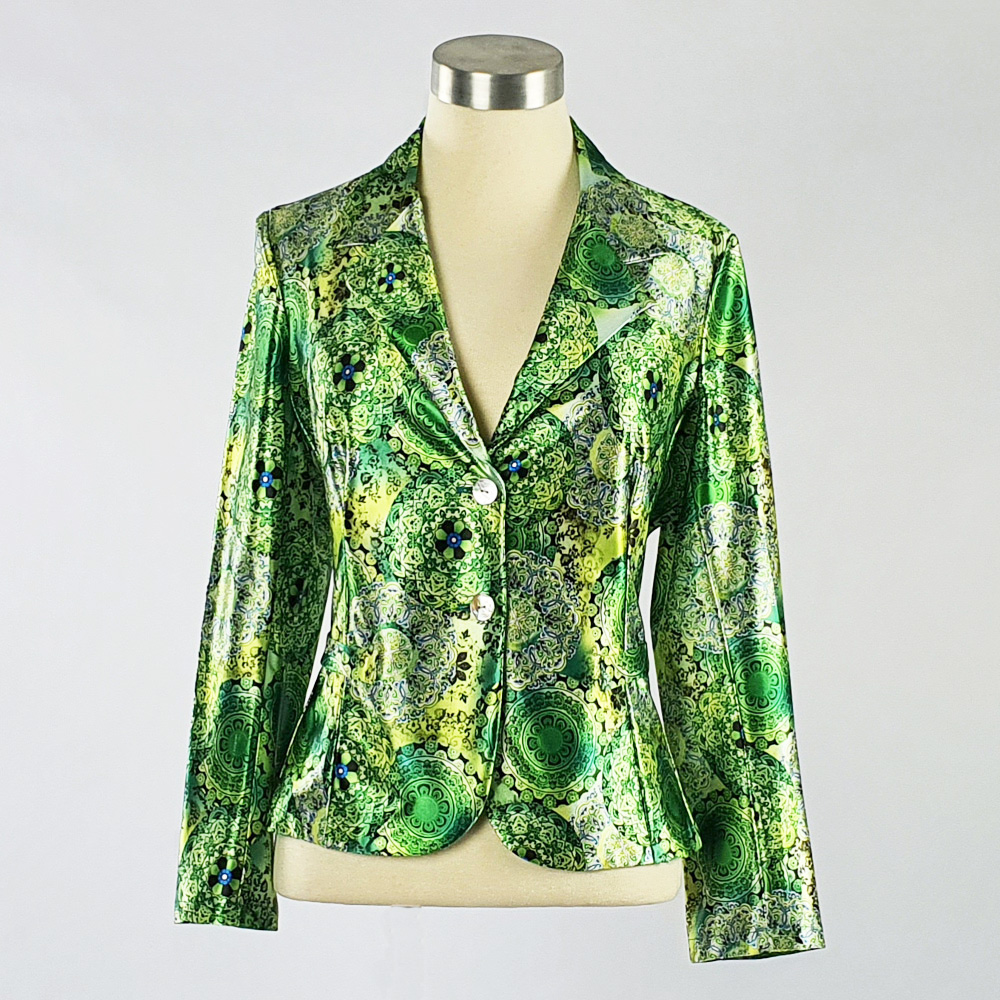 Print Satin Jacket Green