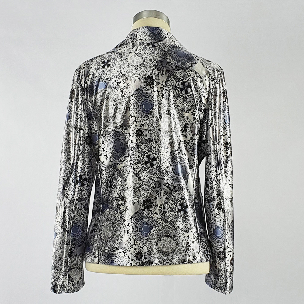 Print Satin Jacket Grey Back