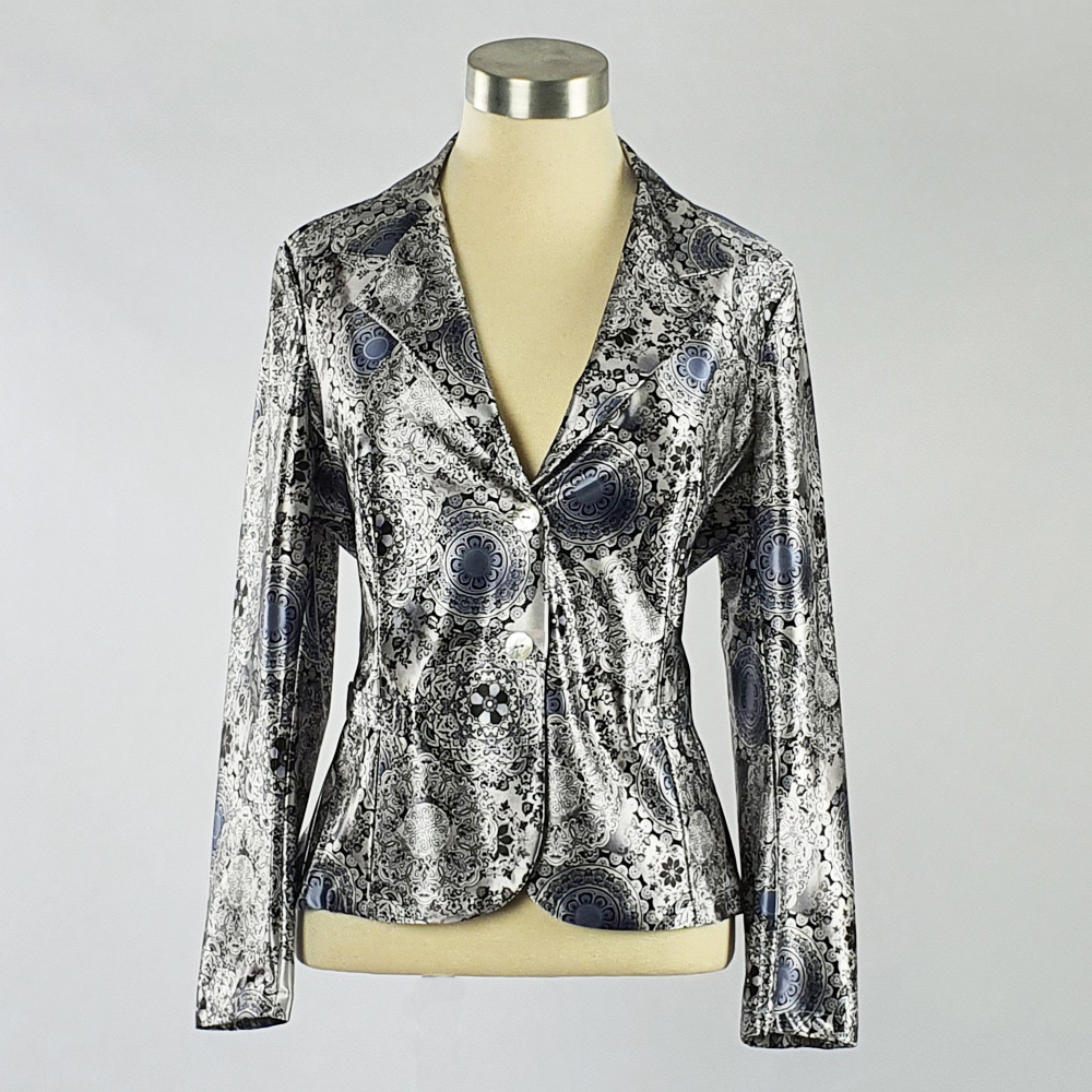 Print Satin Jacket Grey