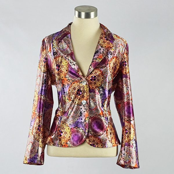 Print Satin Jacket Purple