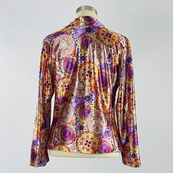 Print Satin Jacket Purple Back