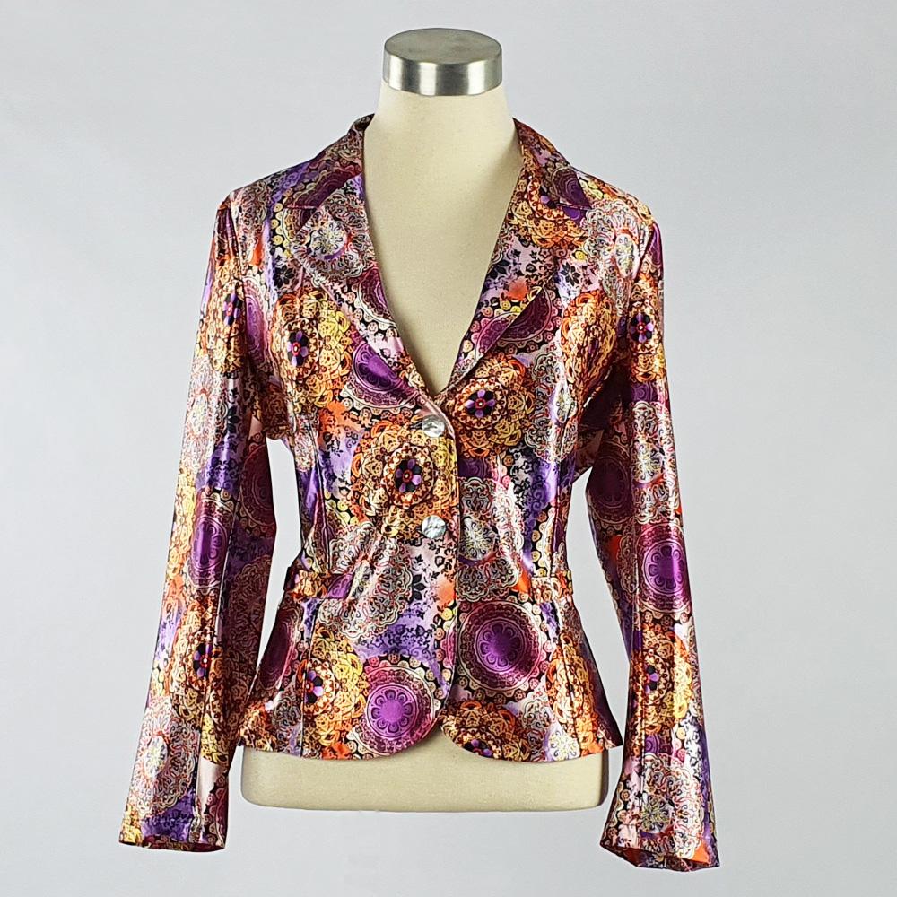 Print Satin Jacket Purple
