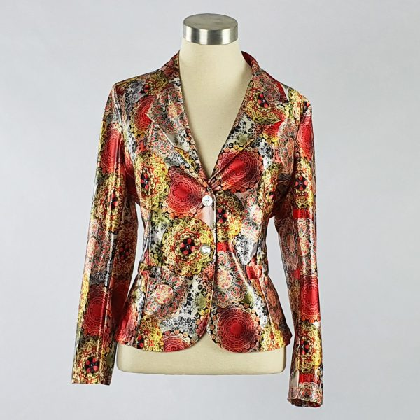 Print Satin Jacket Red