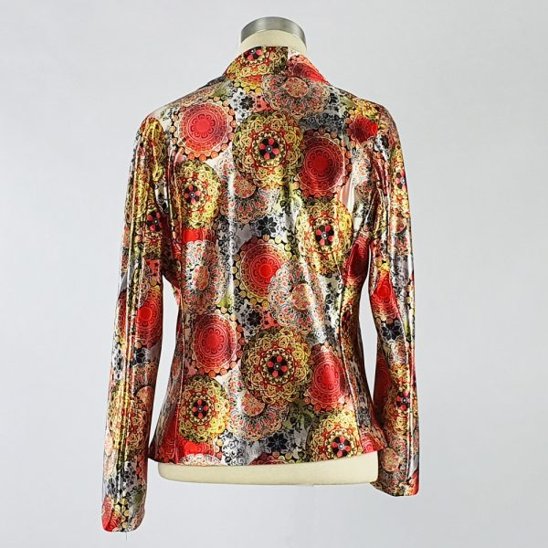 Print Satin Jacket Red Back