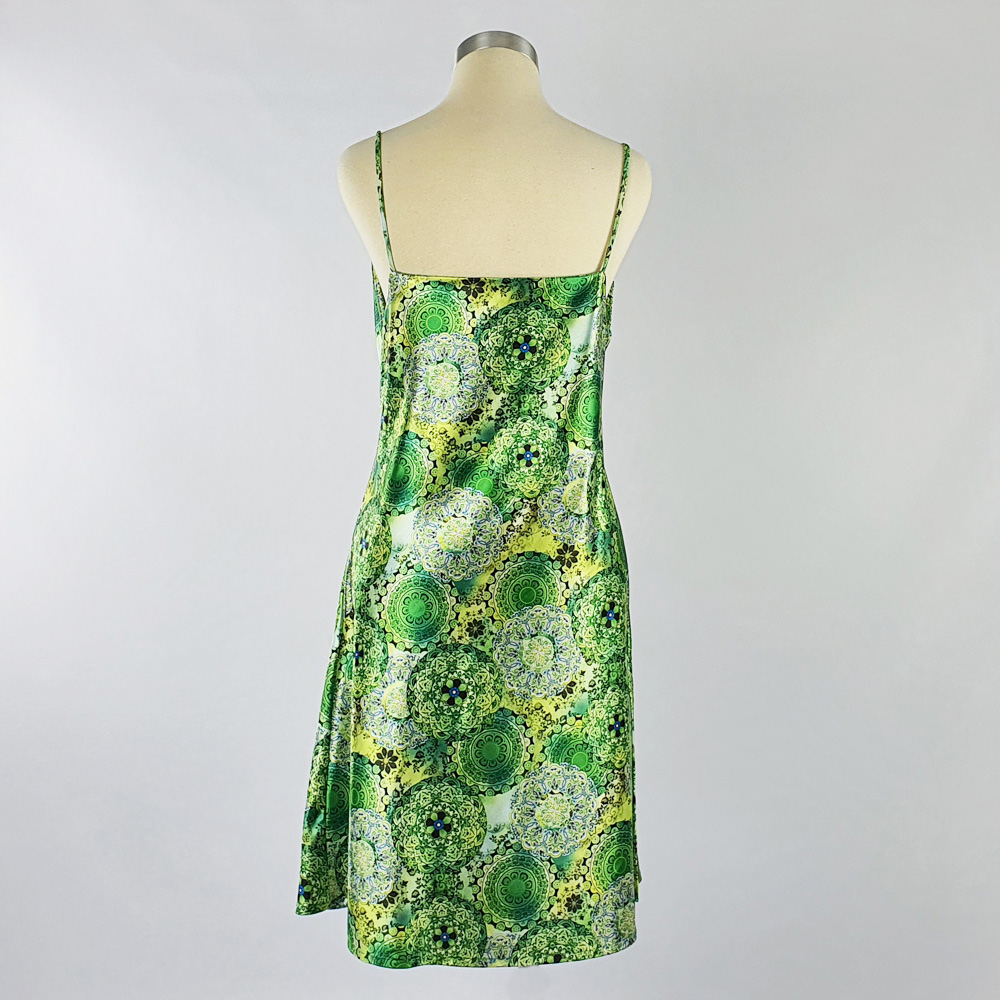 Print Satin Dress Green Back