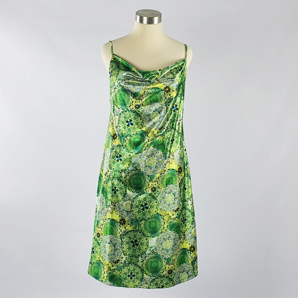 Print Satin Dress Green