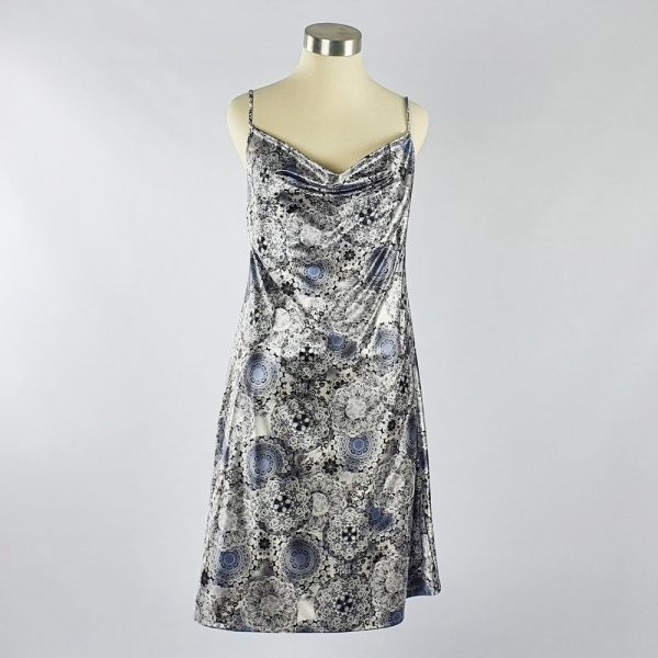 Print Satin Dress Grey
