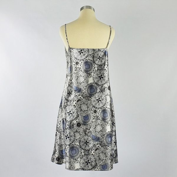 Print Satin Dress Grey Back