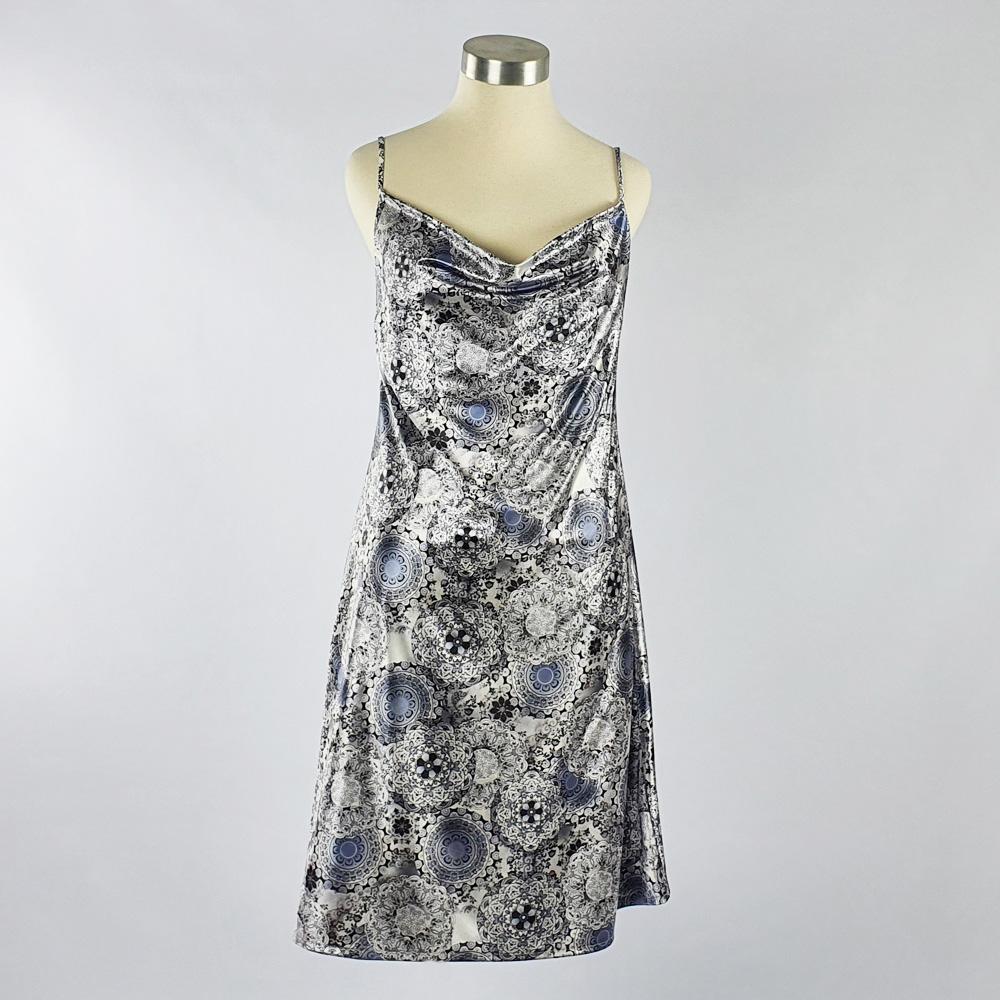 Print Satin Dress Grey