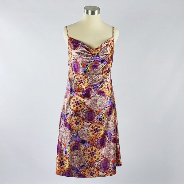 Print Satin Dress Purple
