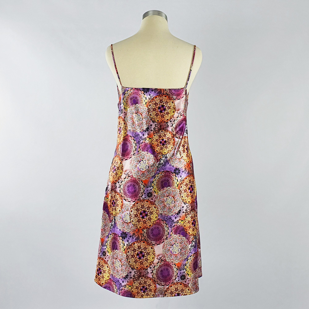 Print Satin Dress Purple Back
