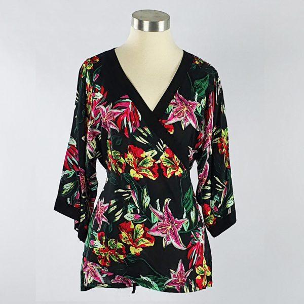 Viscose Print Kimono Wrap Top Black Floral