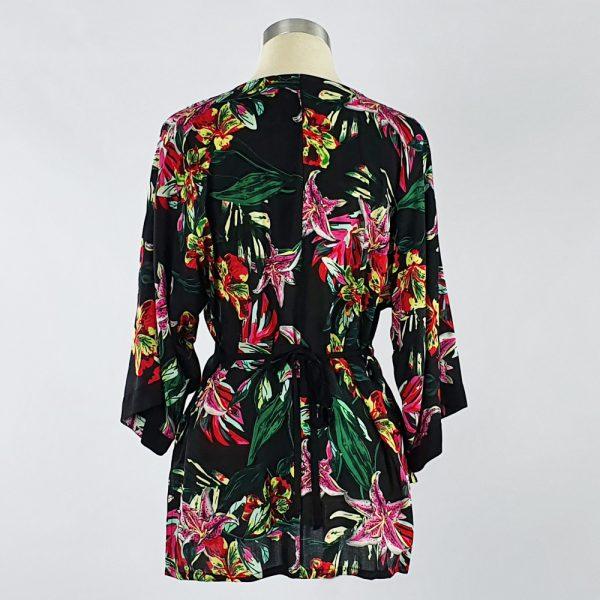 Viscose Print Kimono Wrap Top Black Floral Back