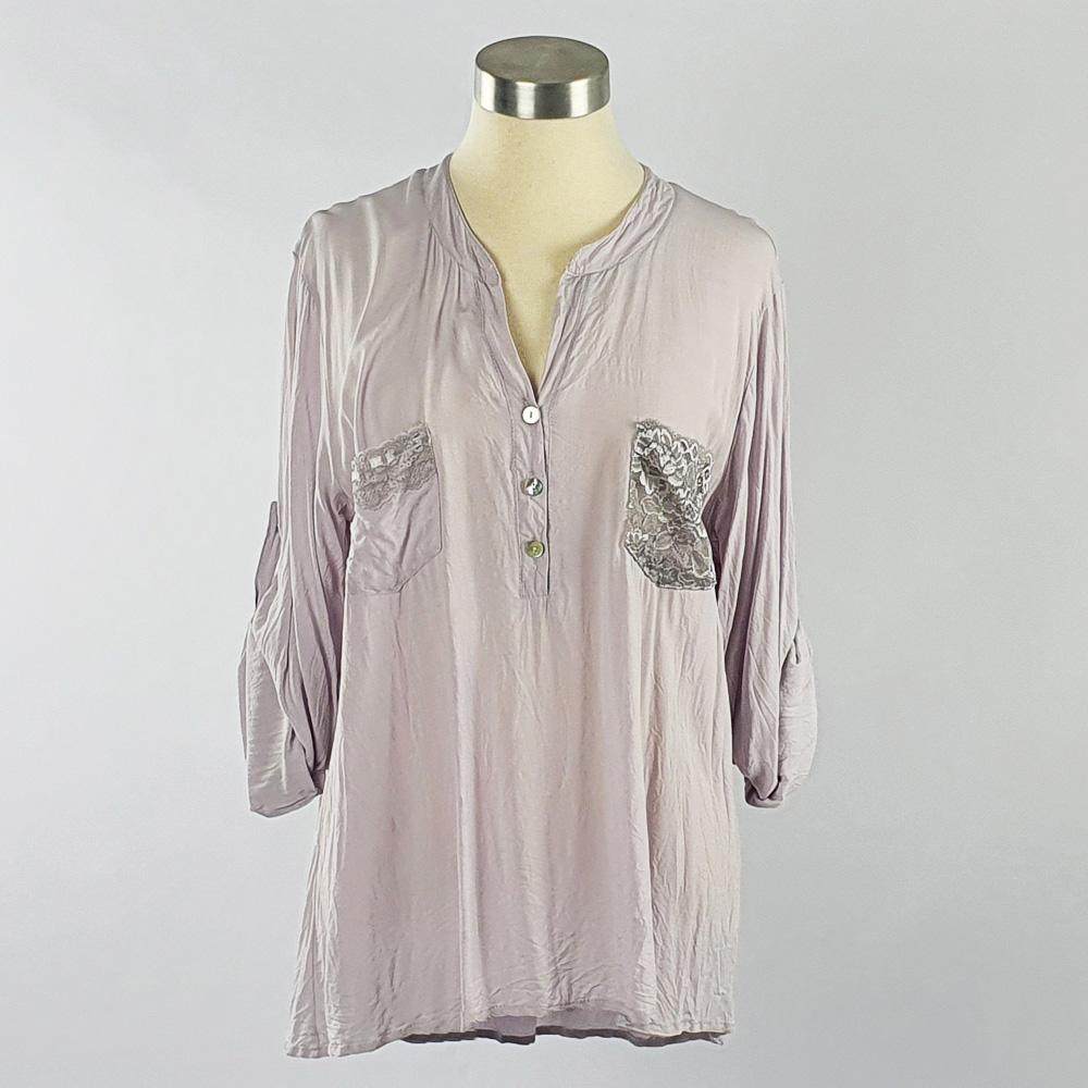 Viscose Shirt with Lace Pocket Grey
