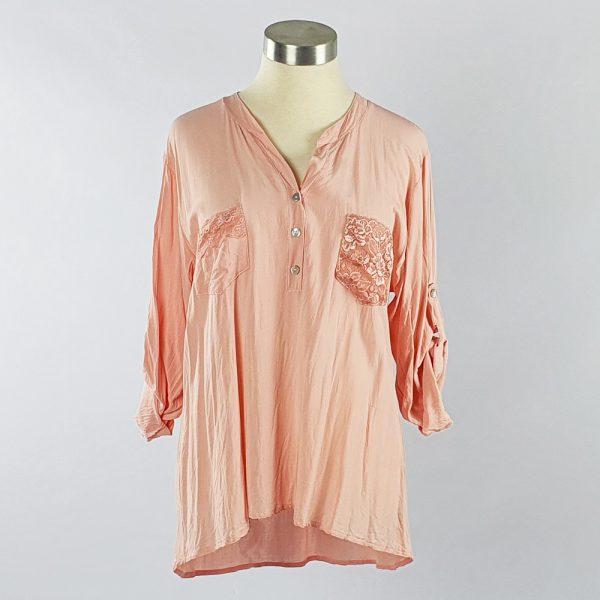 Viscose Shirt with Lace Pocket Pink