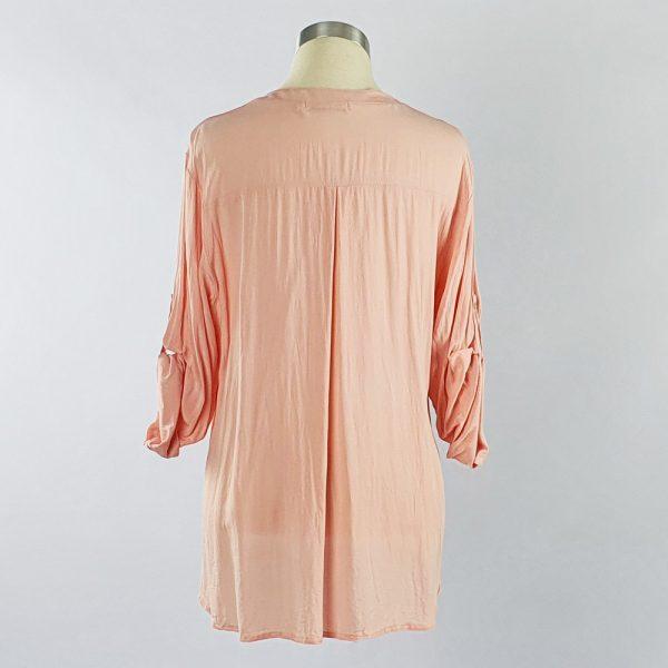Viscose Shirt with Lace Pocket Pink Back