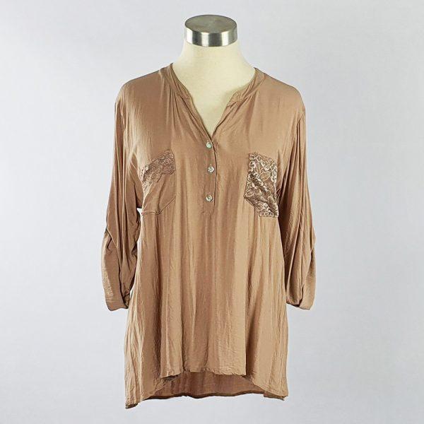 Viscose Shirt with Lace Pocket Stone