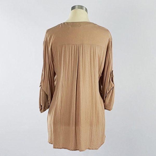 Viscose Shirt with Lace Pocket Stone Back
