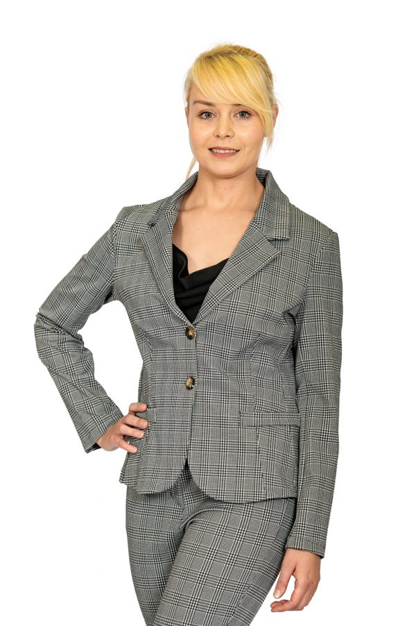 Ladies big check stretch jacket front