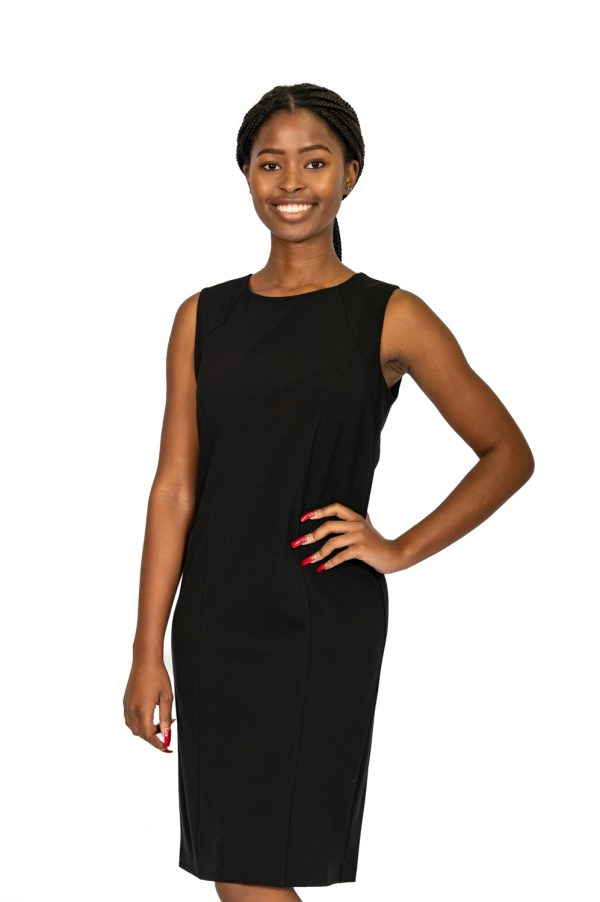 Shift Sleeveless Stretch Dress black front