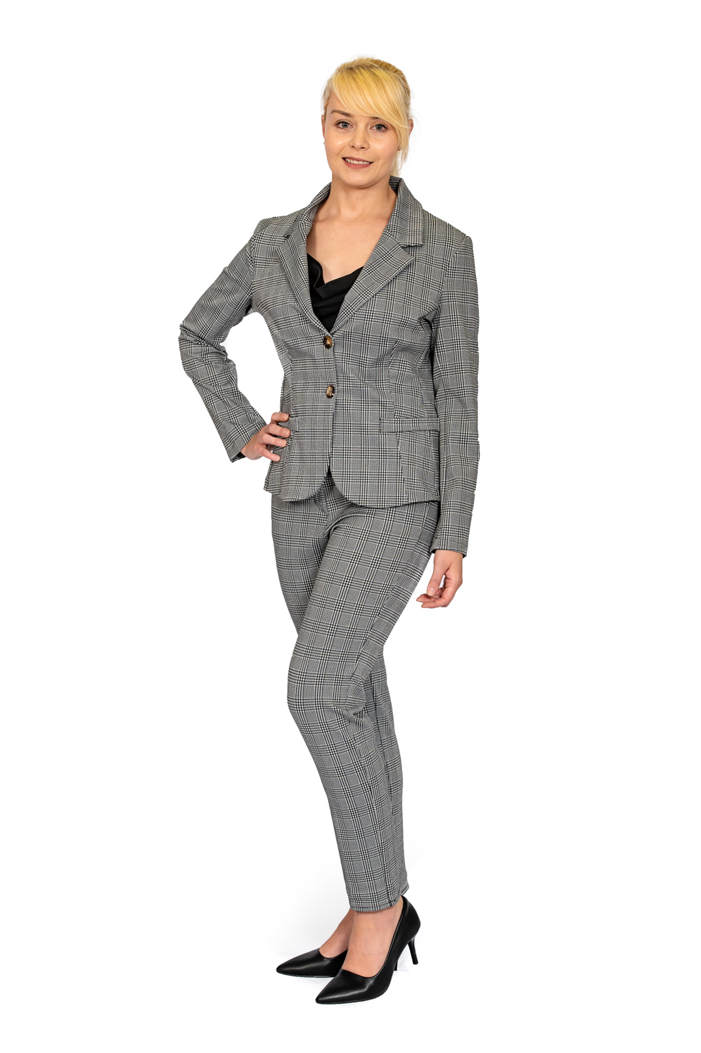 Ladies big check stretch jacket full