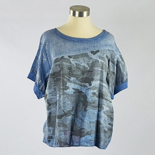 Cotton Linen Sequin Camo Print Top Blue