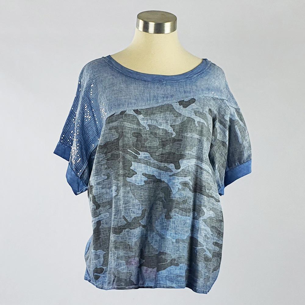 Cotton Linen Sequin Camo Print Top Blue