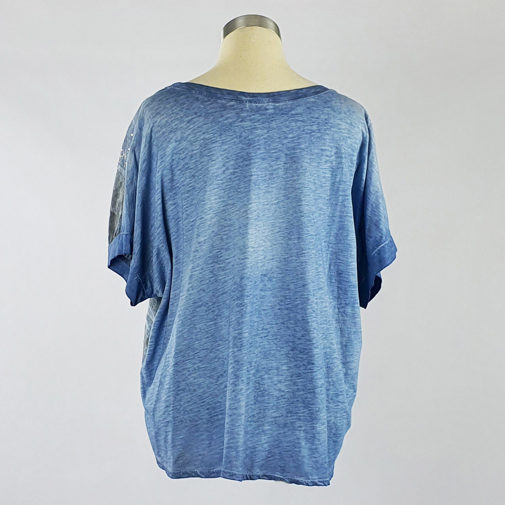 Cotton Linen Sequin Camo Print Top Blue Back