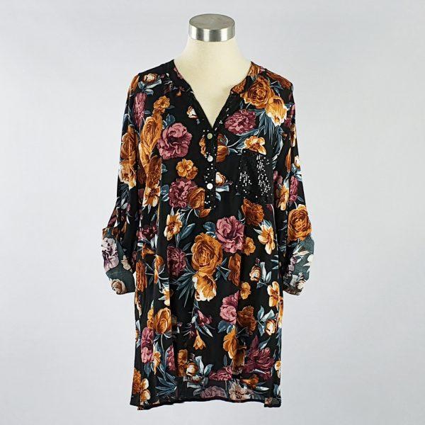 Viscose Printed Shirt with Sequin Pocket & Placket Black Floral