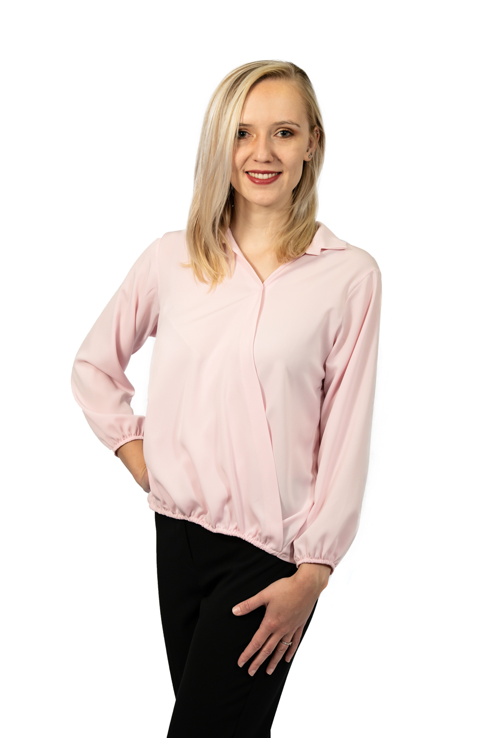 Long sleeve crossover top pink front