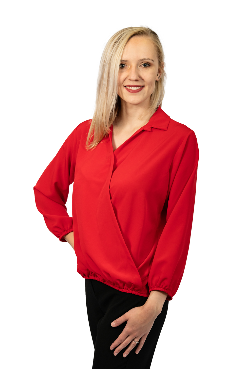 Long sleeve crossover top red
