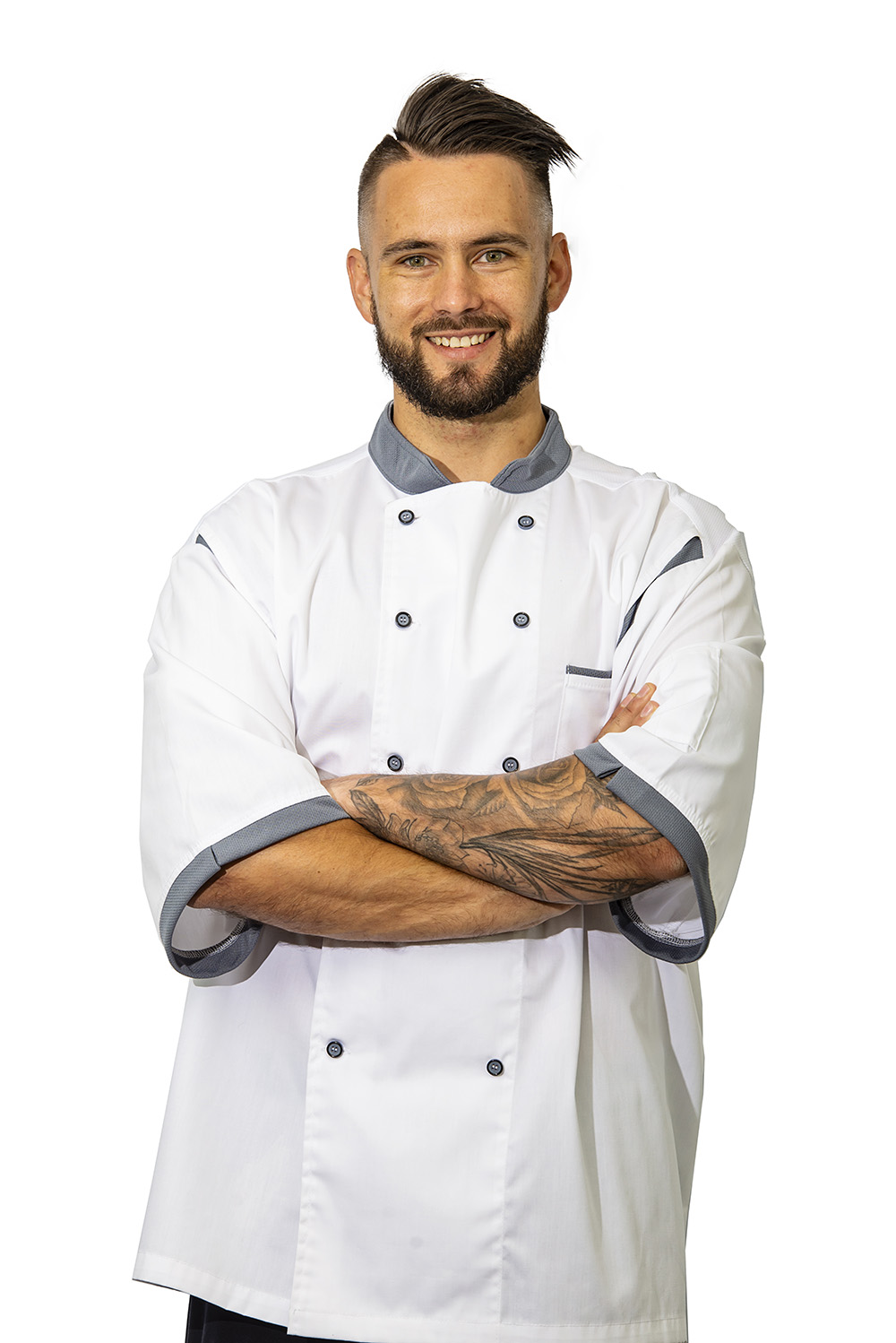 grey birdseye chef jacket